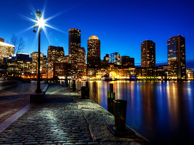 Boston Night Skyline wallpaper
