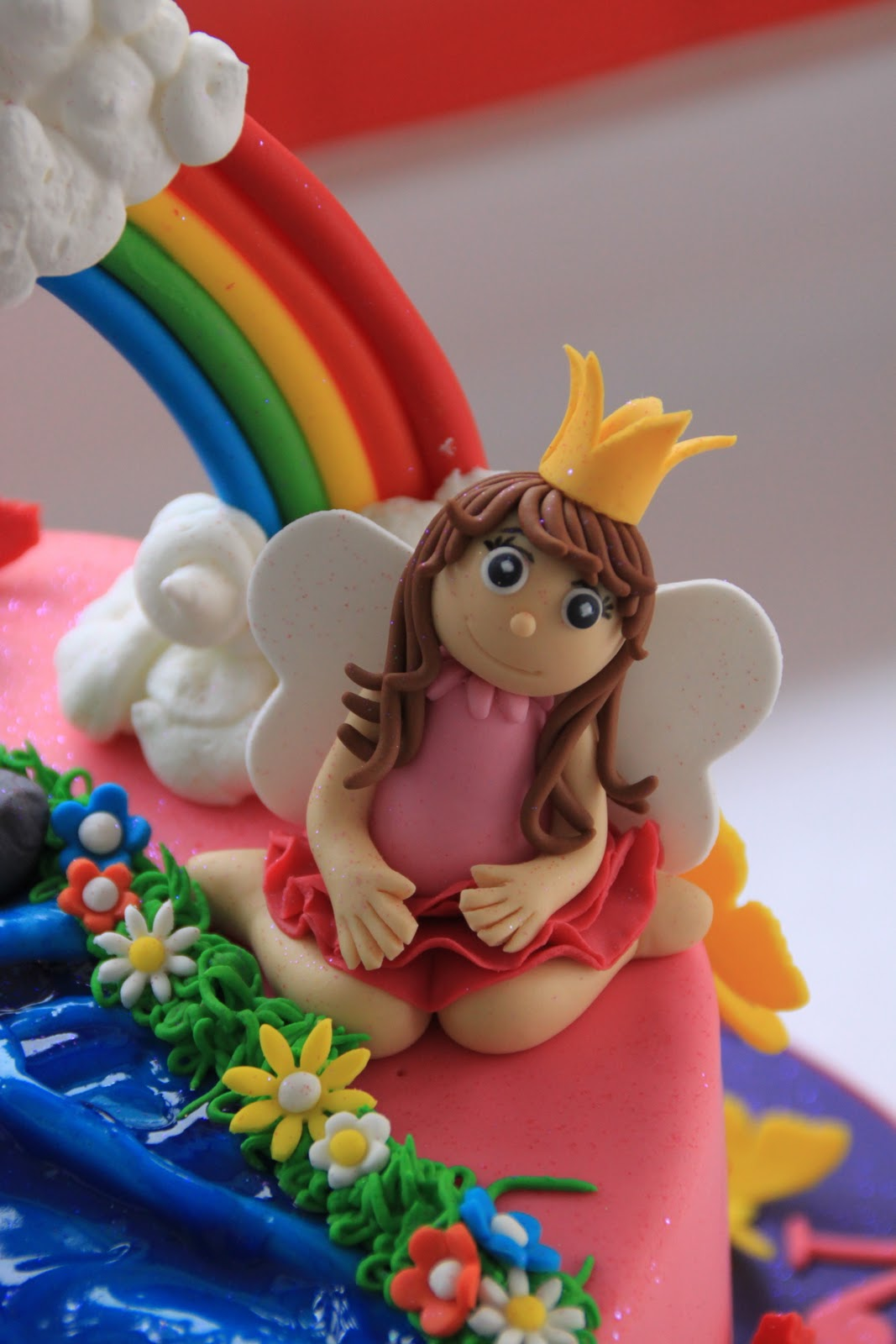 Fairy Unicorn And Waterfall Rainbow Cake