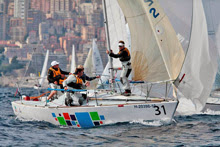 J/24 setting spinnaker at Europeans off Monte Carlo, Monaco