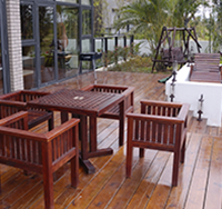 Patio with Wooden Furnishings