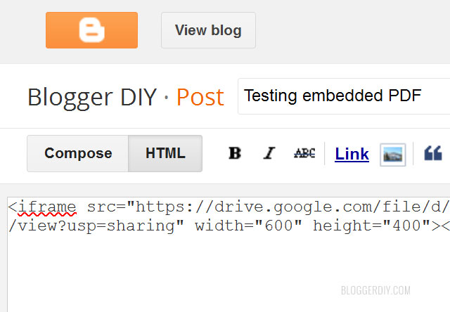 PDF embed code in post editor