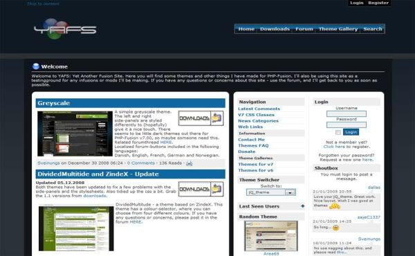 Free Dark Black Gray Web2.0 Phpfusion Theme