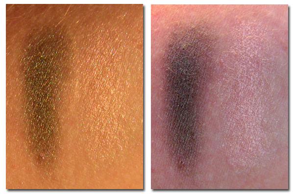 Clarins Mono Couleur Eyeshadow Silver Green 23 и Frost Pink 16 свотчи на руке сухим спонжем