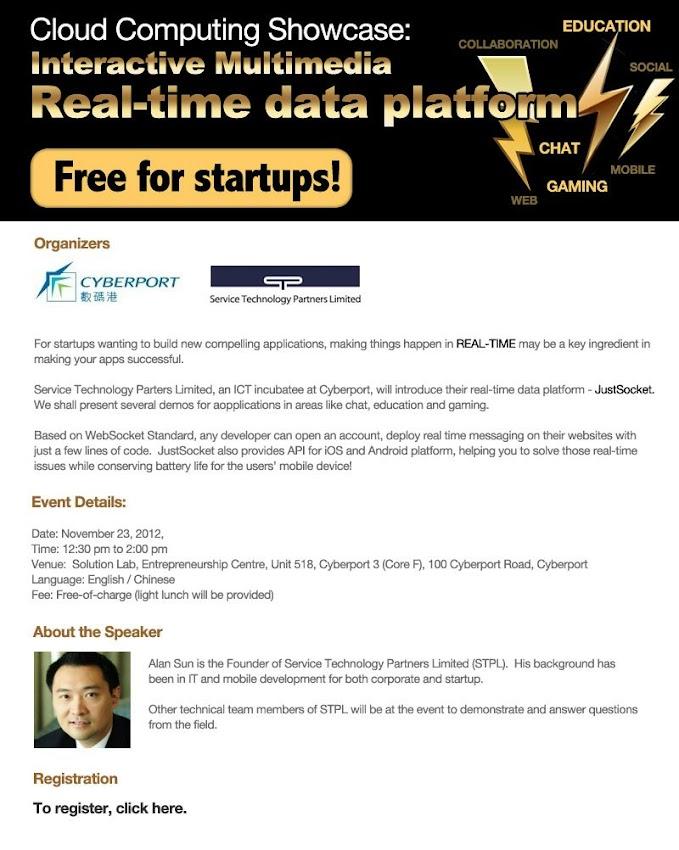Startups Connect: Cloud Computing Showcase: Interactive Multimedia Real-time data platform