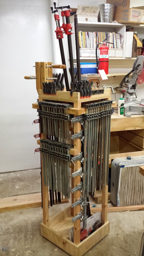 Rolling clamp rack to save space and meet an aggreement for Rolling lumber cart plans