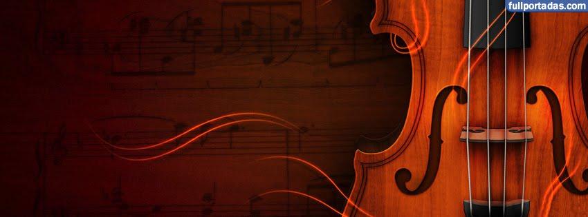 Portadas para facebook Violin sobre partituras