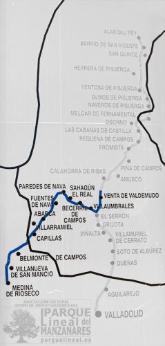 Mapa Ramal de Campos. Canal de Castilla.