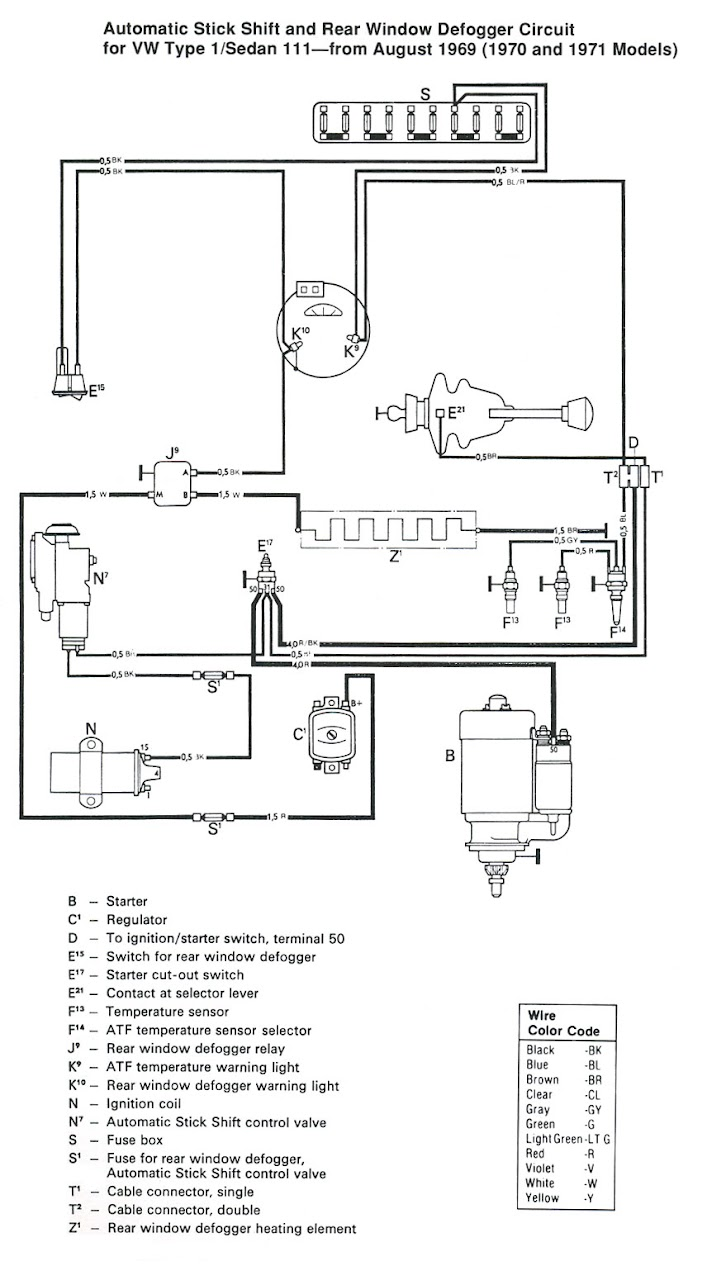 automatic stick shift and rear window defogger circuit for vw type 1/sedan  113 — from august 1969 (1970 and 1971 models)