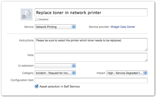 Request template with asset selection checkbox