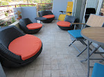 Outdoor area all spruced up, even bringing out the yellow zero-gravity chairs, which ended up a huge hit