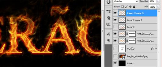 Duplique a camada de chamas, e se achar melhor, duplique também a camada do texto