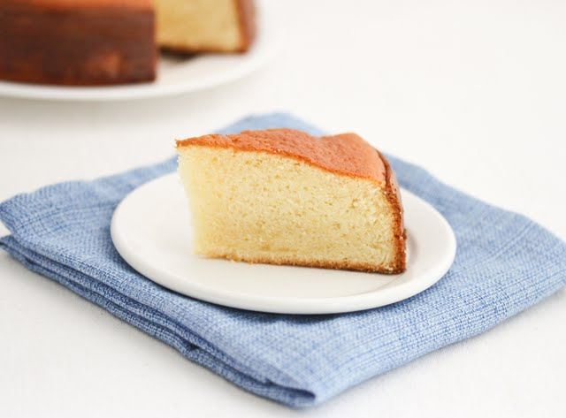 photo of a slice of Hot Milk Sponge Cake on a plate