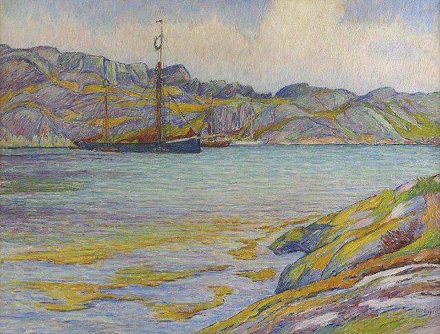 Karl Nordström - Boats by a cliff, Kyrkesund