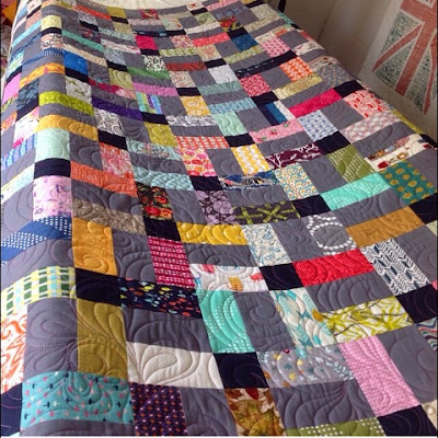 Scraptastic Quilt on Trudi Woods quilting frame for some special quilting!