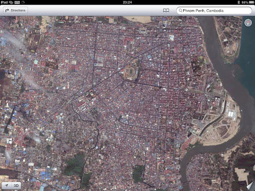 Apple Maps Hybrid Satellite View of Phnom Penh