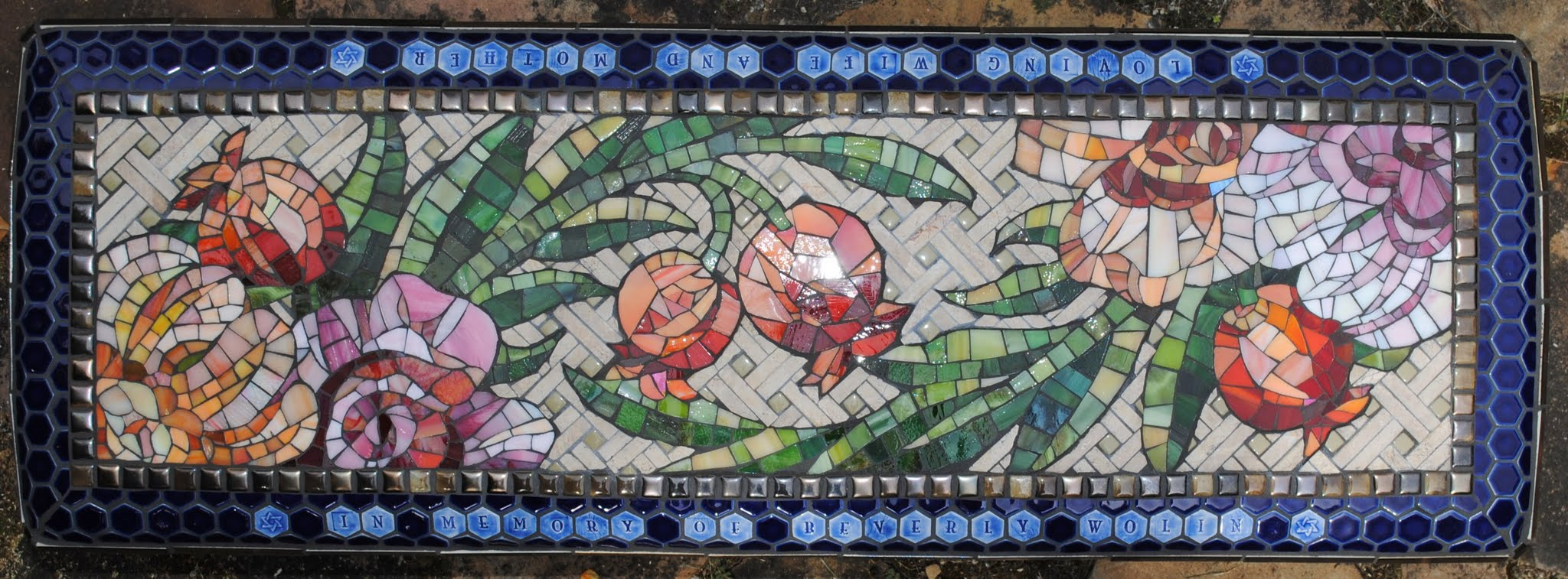 Mosaic Garden Bench -- Rose & Pomegranate