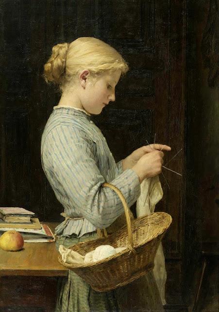 Albert Anker - Strickendes Mädchen  - 1888