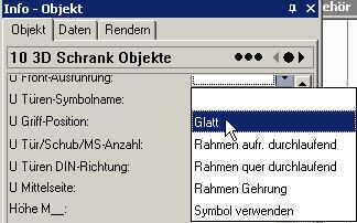 ElementsCAD - 3D-Schrank Infopalette