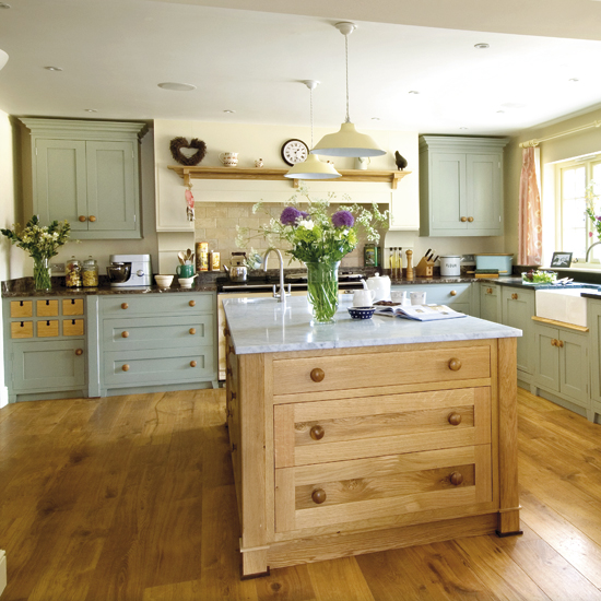 Modern country style modern country kitchen colour scheme for Modern green kitchen designs