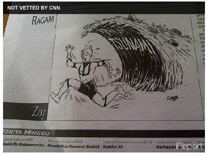 Karikatur Koran Malaysia Soal Tsunami Jepang Dikecam Banyak Pihak