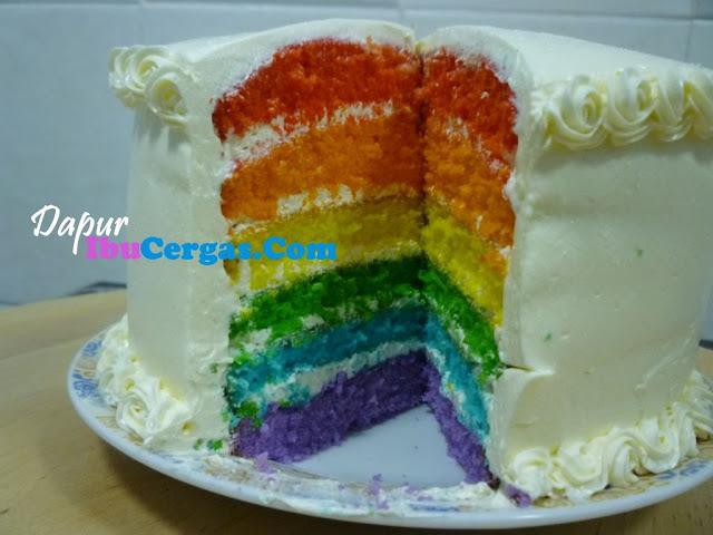 Rainbow Cake Kek Pelangi