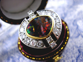 Antique Art Deco Lightning Ridge Opal Diamond Ring