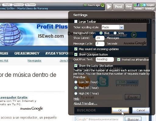 Configuración de Friendbar