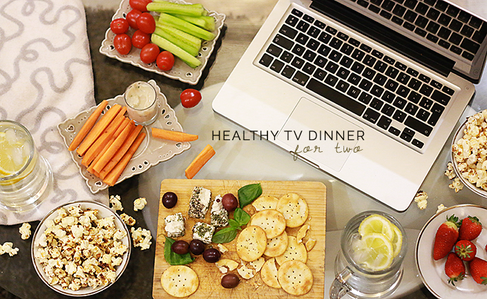 healthy TV dinner, how to prepare a quick and healthy snack, pop corn recipe, movie night for two, snacking without putting on weight
