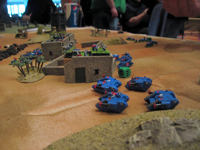 Land Raiders rolling up the left flank.