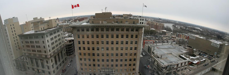 Blick aus meinem Hotelzimmer in Winnipeg