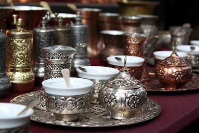 Metal coffee set at a market in Sarajevo
