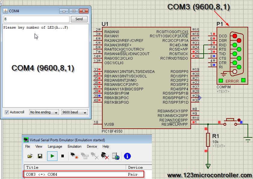 Circuit PIC18F4550 UART1