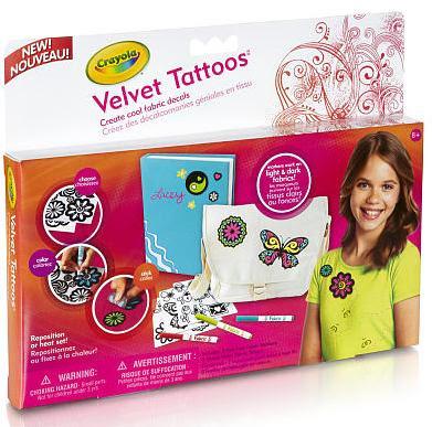 Bộ dụng cụ trang trí quần áo Velvet Tattoos cho bé sáng tạo trực tiếp trên những bộ quần áo bằng vải