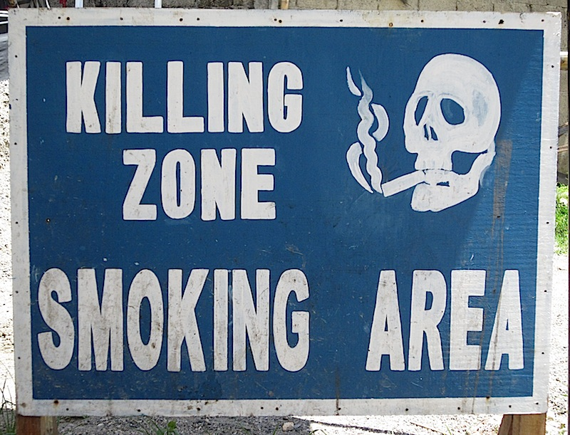 'Killing Zone' smoking area sign
