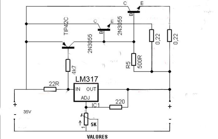 Fonte simétrica para Bancada - LM317/337 Anlisefonte