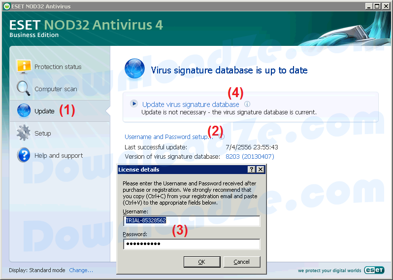 NOD32 password & nod32 username Update ฟรีอัพเดทรหัสผ่าน NOD32 ทุกวัน