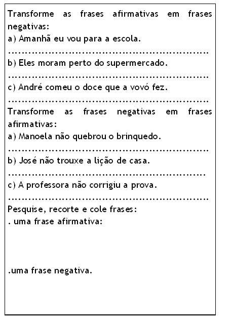 Banco De Atividades Lingua Portuguesa Frases Afirmativas E Negativas