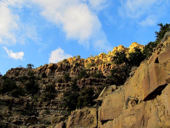 Sunset light high on the cliffs