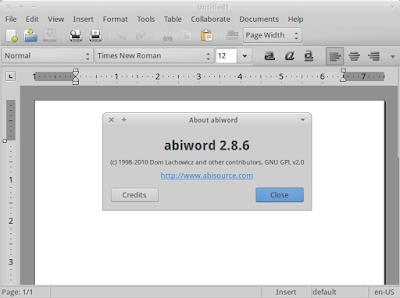 Abiword 2.8.6 running on Xubuntu 12.10
