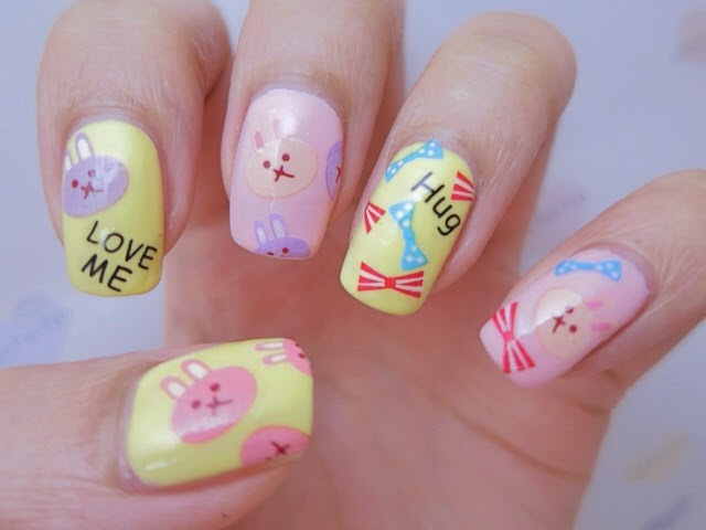 Bunny Rabbit Water Decal Nail Art YU478