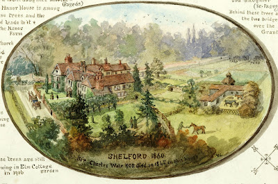"""This view of Old Shelford House is also copied from a watercolour by Col R.G.Wale who also made a model to scale of the whole building before the south and east portions were removed."" From A Record of Shelford Parva by Fanny Wale P59"