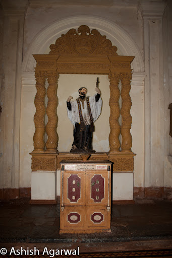 View of the statue of a saint inside the Basilica of Bom Jesus in Goa