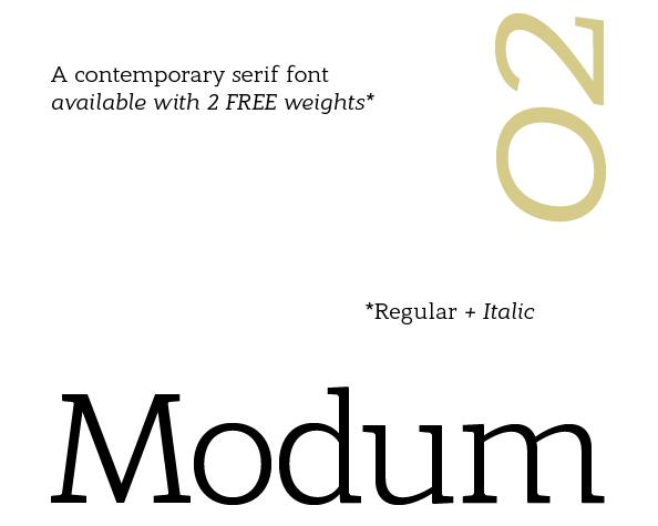 Modum Regular + Italic Free Fonts
