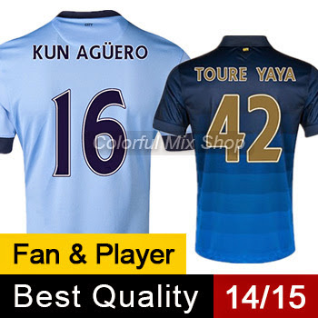 Free Shipping 2015 manchester city Jersey KUN AGUERO TO