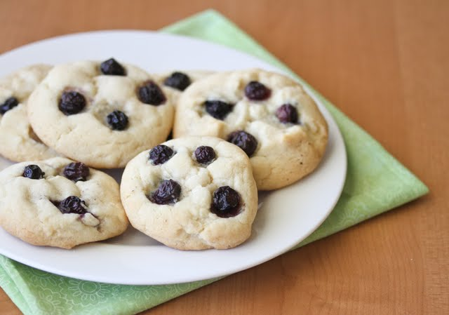blueberry cheesecake cookies on a plate