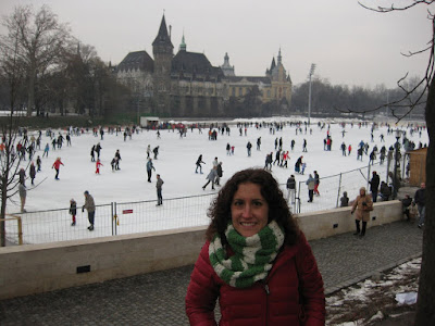 Ice Skaters on the lake and Vajdahundyad Castle