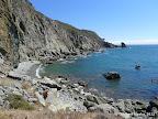 A rocky beach to the south.