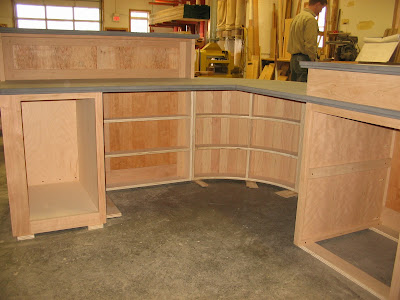 Our Librarian's new desk is almost complete at Stark Mountain Woodworking. 4/8/09