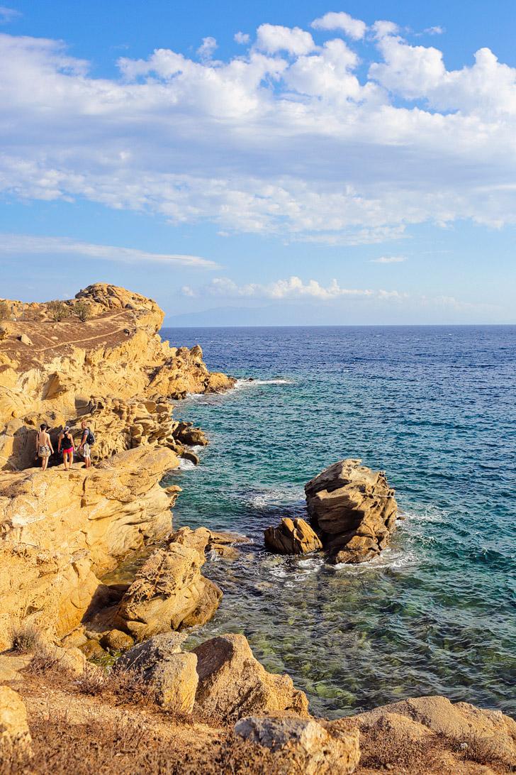 Hike to Paradise Beach Mykonos Greece.