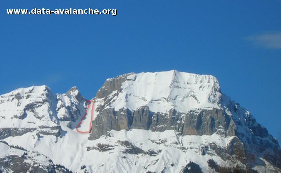 Avalanche Aravis, secteur Col de la Forclaz, Couloir sud Est de la Forclaz - Photo 1